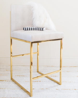 Haines Faux-Shagreen & Brass Counter Stool